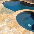 French Pattern Gold Tumbled Travertine Pavers
