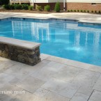 "French Pattern Walnut Travertine Pavers with 2"" Wall Caps"