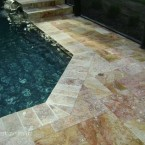French Pattern Autumn Blend Tumbled Travertine Pavers