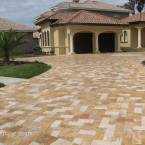 6x12 Gold and Ivory Tumbled Travertine Driveway Pavers
