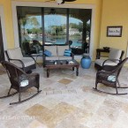 16x16 Ivory Swirl Tumbled Travertine Pavers
