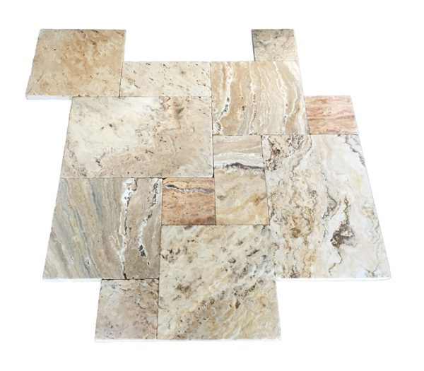 Premium Select Tumbled French Pattern Leonardo Travertine Pavers *SUMMER PRE-ORDER SALE* (Until 07/31/20) (300px)