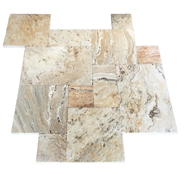 Premium Select Tumbled French Pattern Leonardo Travertine Pavers (300px)