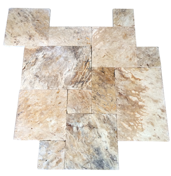 Premium Select Tumbled French Pattern Leonardo Onyx Travertine Pavers