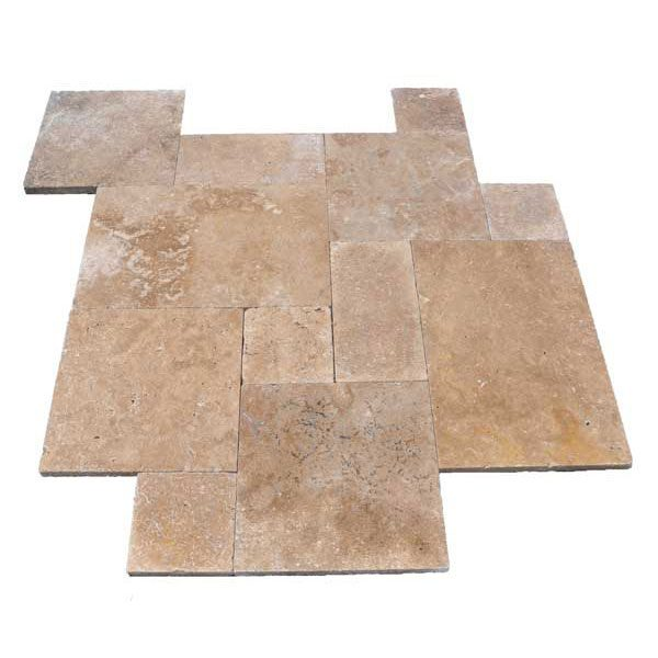 Premium Select French Pattern Noche Tumbled Travertine Pavers *PRE-ORDER SALE* (Until 01/24/20) (300px)