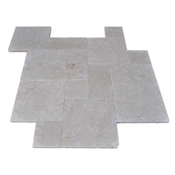Premium Select French Pattern Pearl Tumbled Marble Pavers