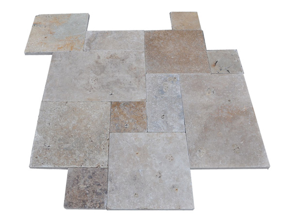 Premium Grade French Pattern Roman Walnut Blend Travertine Pavers