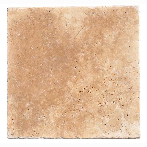 Premium Select Tumbled  16×16 Walnut Travertine Pavers