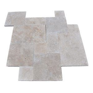 Premium Select French Pattern Walnut Tumbled Travertine Pavers