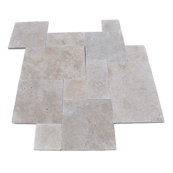 Premium Select Tumbled French Pattern Walnut Travertine Pavers (300px)