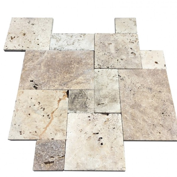 French Pattern Roman Walnut Blend Travertine Pavers Standard Grade (300px)