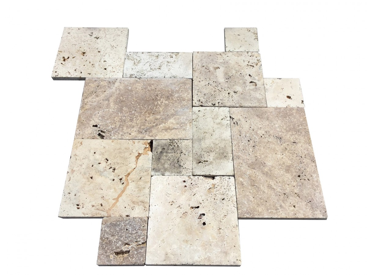 roman walnut blend travertine pavers