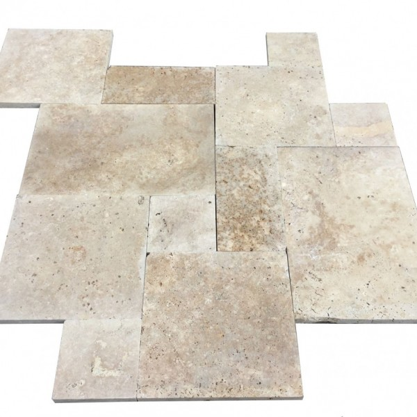 Premium Select Tumbled French Pattern Walnut Travertine Pavers *MARKDOWN* (Until 03/16/18) (300px)
