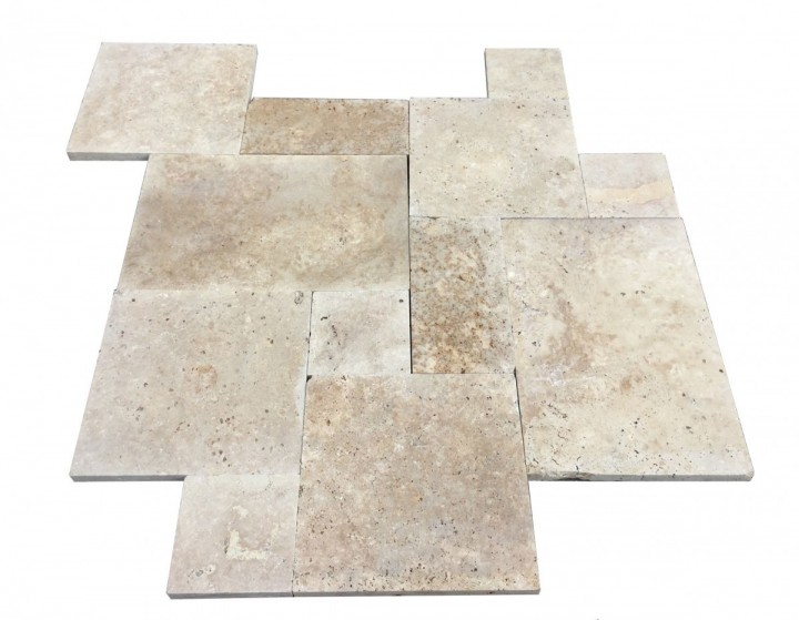 Premium Select Tumbled French Pattern Walnut Travertine Pavers *JULY SALE* (Until 07/19/19) (300px)
