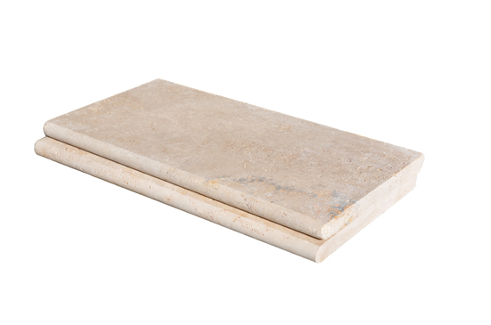Premium Select 12×24 Ivory Swirl® Tumbled Travertine Pool Coping