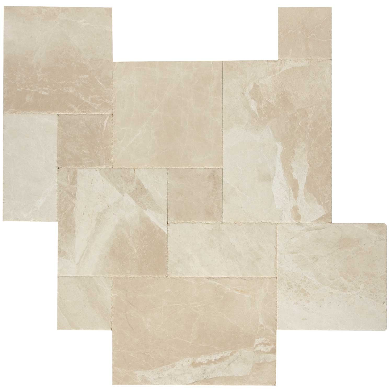 French Pattern Botticino Marble Tiles Brushed & Chiseled