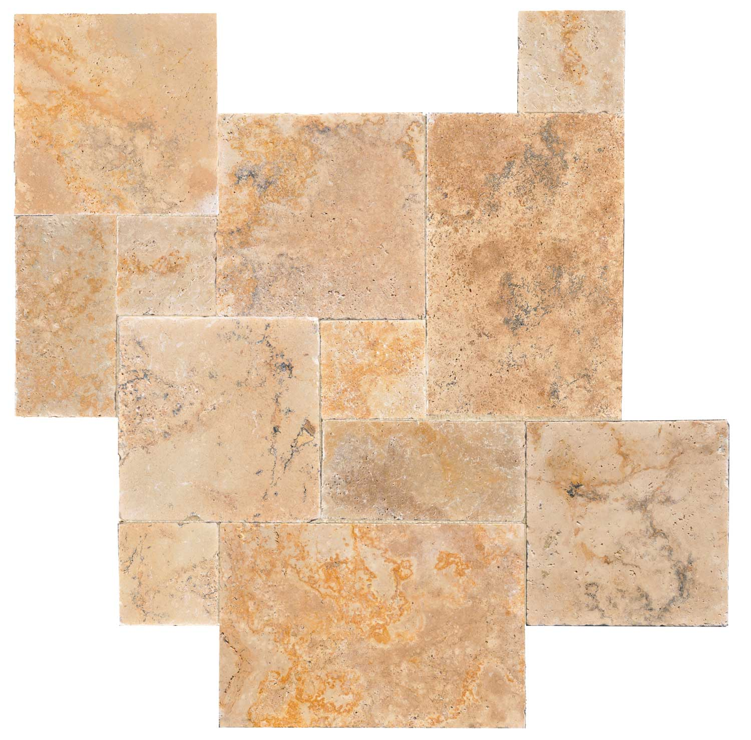 French Pattern Country Classic Brushed & Chiseled Travertine Tiles