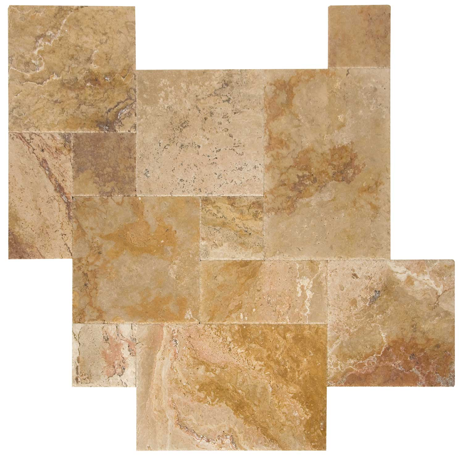 French Pattern Leonardo Brushed & Chiseled Travertine Tiles