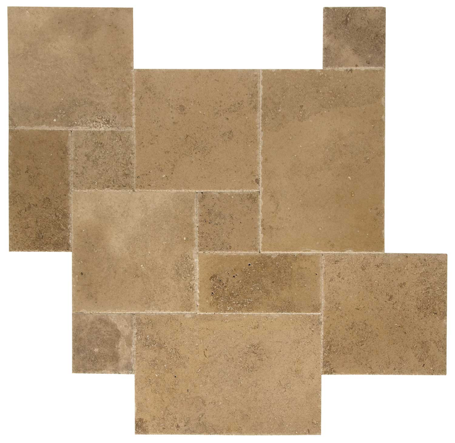 French Pattern Noche Brushed & Chiseled Travertine Tiles
