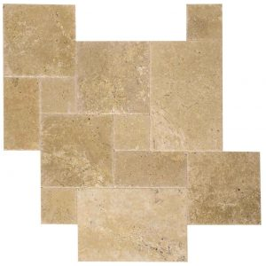 French Pattern Walnut Brushed & Chiseled Travertine Tiles