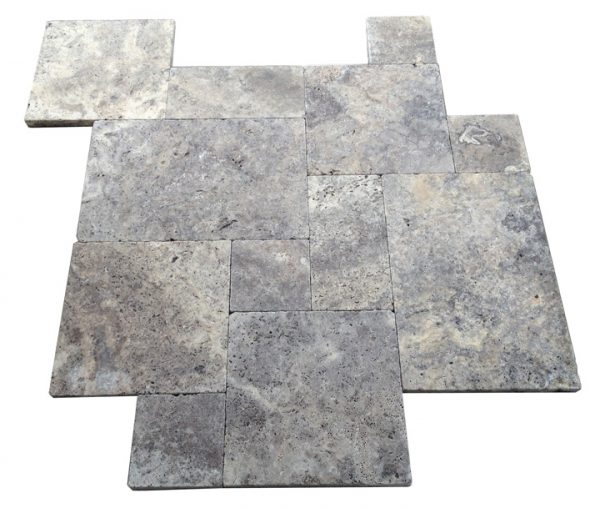 Premium Select Tumbled French Pattern Silver Travertine Pavers (300px)