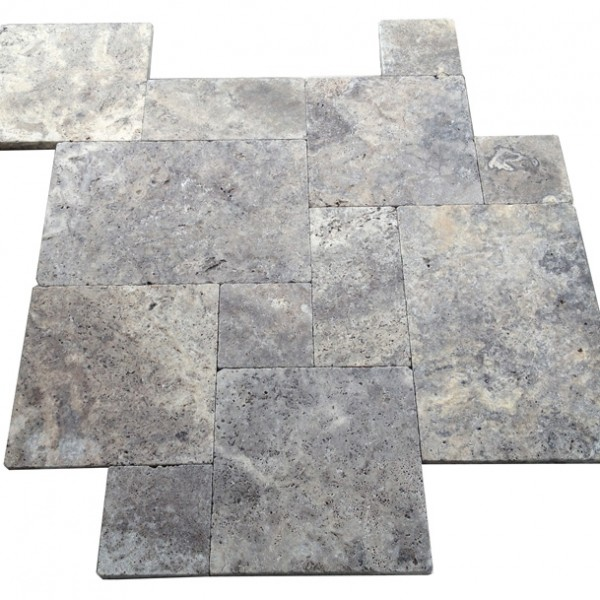 Premium Select Tumbled French Pattern Silver Travertine Pavers  *MARKDOWN* (Until 09/07/18) (300px)
