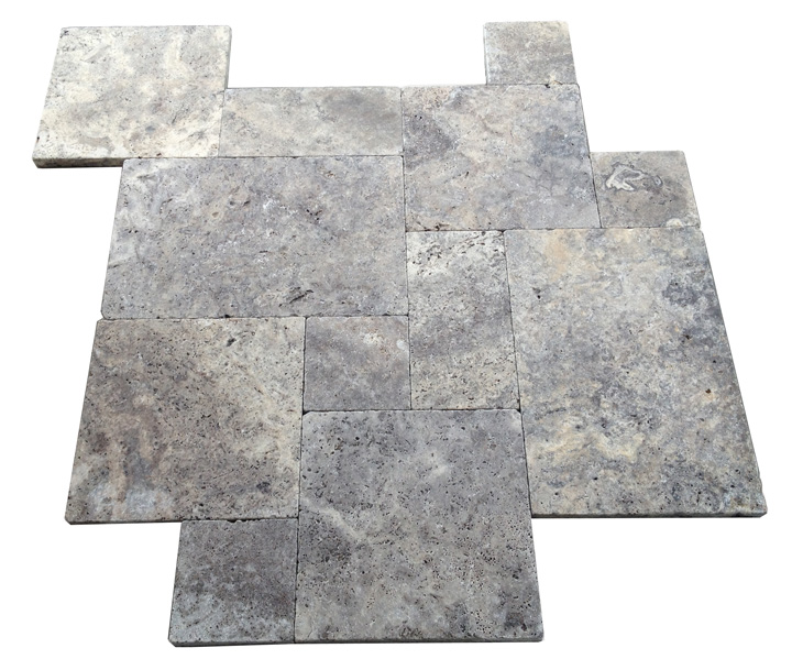 French Pattern Tumbled Silver Travertine Pavers