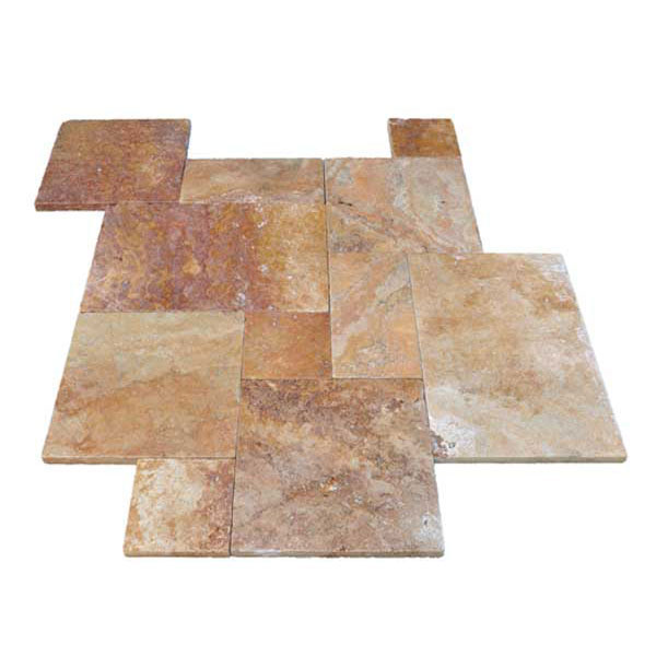Premium Select French Pattern Tumbled Autumn Blend Travertine Pavers