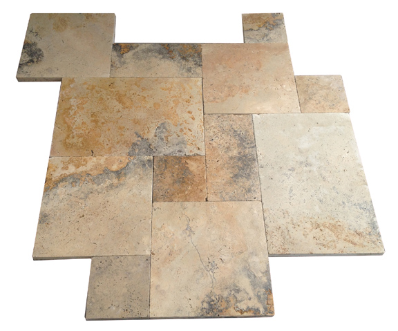 Premium Select Tumbled French Pattern Country Classic Travertine Pavers *JULY 4th PRE-ORDER SALE* (Until 07/06/20) (300px)