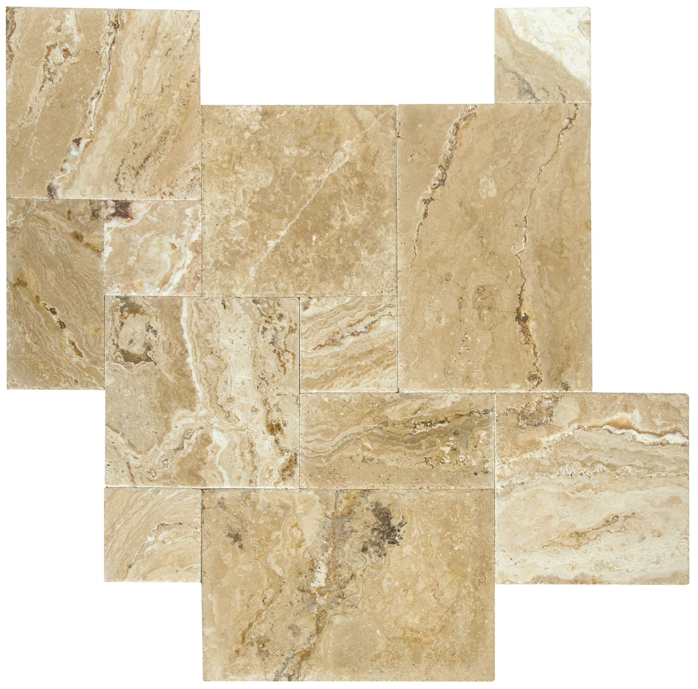French Pattern Da Vinci Travertine Tiles Brushed & Chiseled