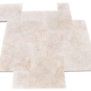 Premium Select French Pattern Ivory Tumbled Travertine Pavers