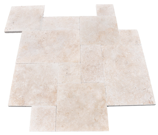 Premium Select French Pattern Tumbled Ivory Travertine Pavers