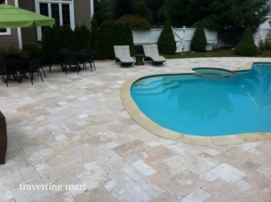 Premium Select French Pattern Walnut Tumbled Travertine Pavers Patio