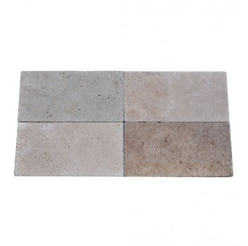 6x12 Ivory Swirl Tumbled Travertine Pavers