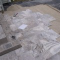 silver travertine install