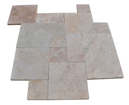 Premium Select French Pattern Ivory Swirl® Travertine Pavers