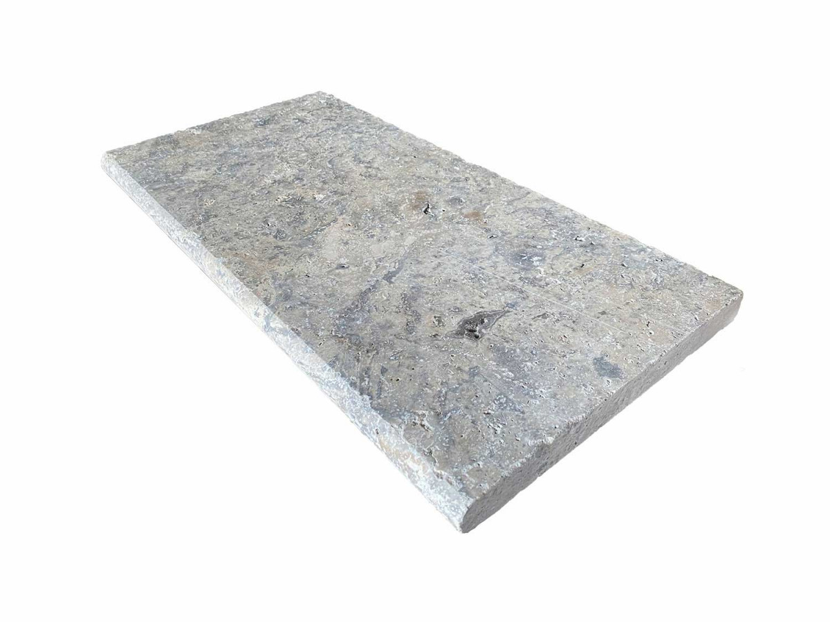 Premium Select 12x24 Silver Travertine Pool Coping