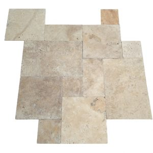French Pattern Ivory Swirl Tumbled Travertine Tiles