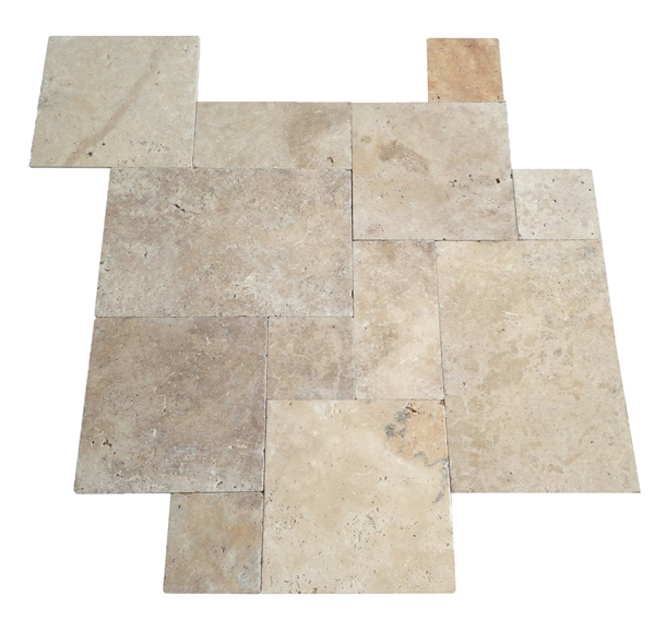 French Pattern Ivory Swirl Tumbled Travertine Tiles May Until 05
