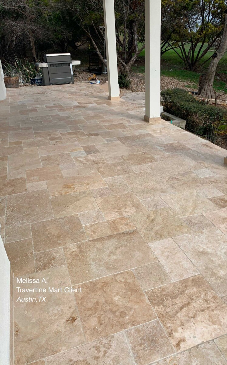 Ivory Swirl Tumbled Travertine Tiles Installed in Austin, TX