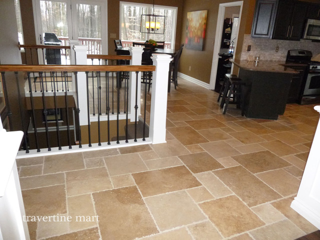 travertine floors in a home. this simple finish honing process