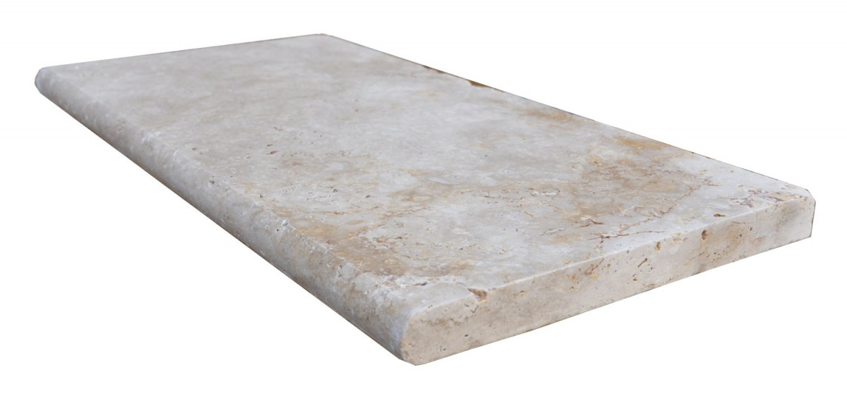 12x24 Ivory Swirl Tumbled Travertine Pool Coping 2 INCH