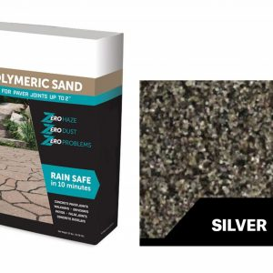 A bag of silver polymeric sand and a swatch color