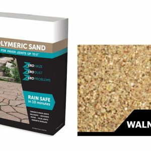 A bag of walnut polymeric sand and a swatch color