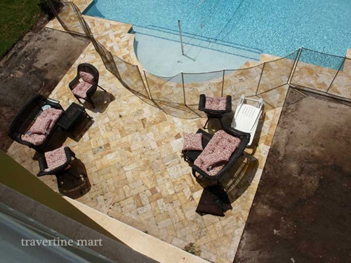 The best method for travertine paver installation is dry-setting.