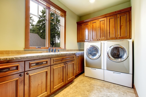 Travertine tile can help turn your laundry room into a functional, attractive space!